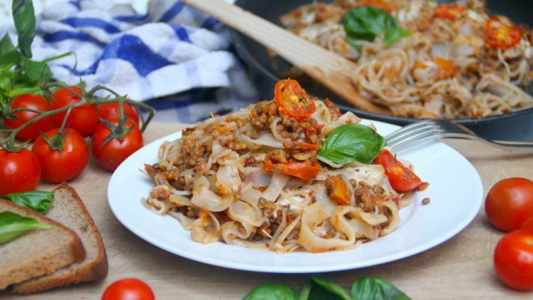 Vegetarian Baked Pasta Bolognese (Gluten & Dairy Free)