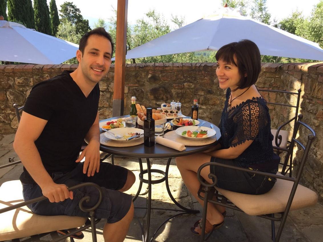 Breakfast at Castello Banfi, Montalcino, Italy