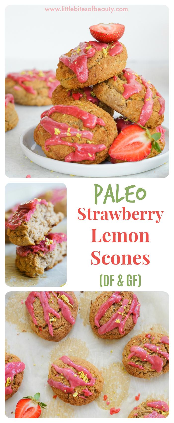 Paleo Strawberry Lemon Scones (Dairy & Gluten Free)