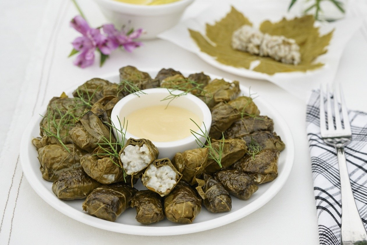 Stuffed Grape Leaves (Dolmades) from the Chef at Perivolas, Santorini (Dairy & Gluten Free)