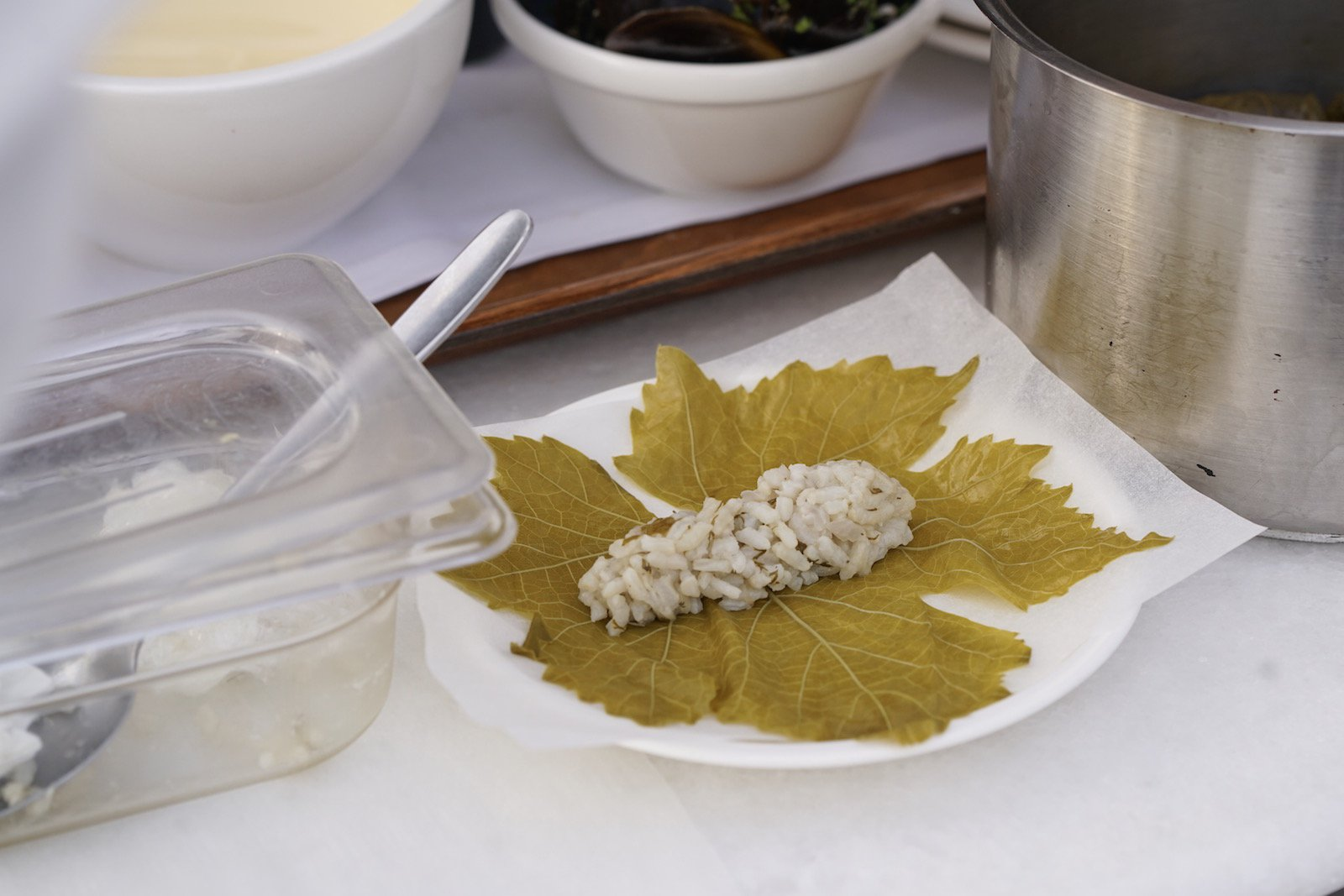Stuffed Grape Leaves (Dolmades) from the Chef at Perivolas, Santorini Dairy & Gluten Free