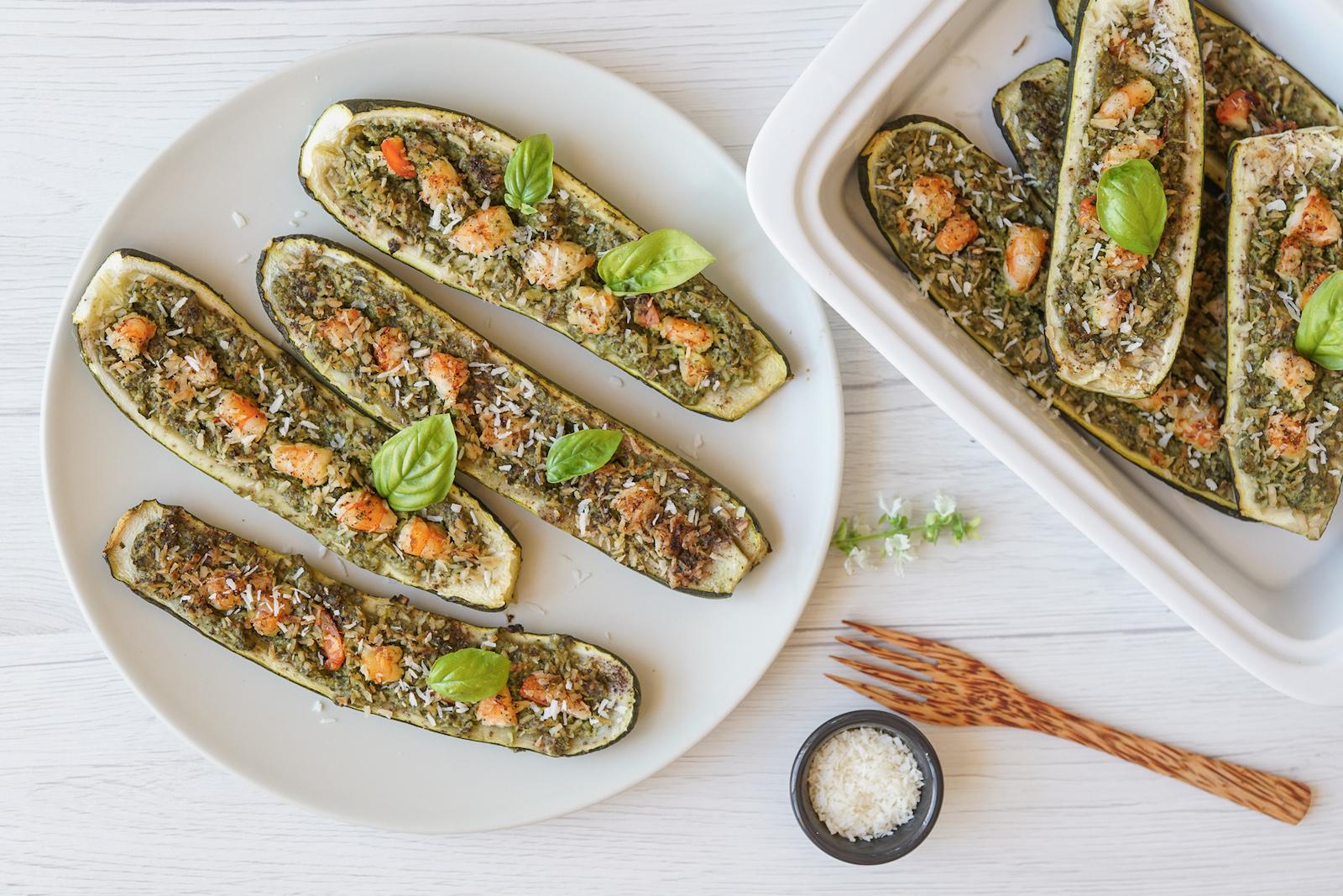 AIP Italian Pesto Scampi Zucchini Boats - AIP Italian Food Recipes from the AIP Italian Cookbook