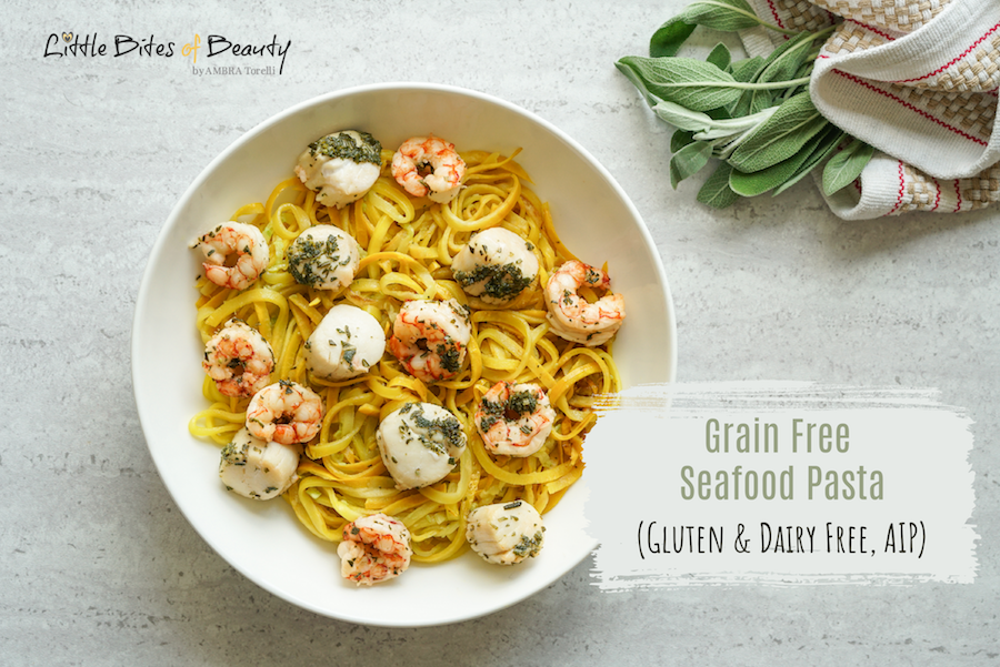 Grain Free Seafood Pasta (Dairy Free, Gluten Free, AIP)